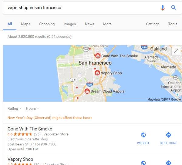 Vape Shop Google My Business