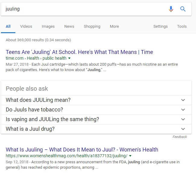 juuling verb google search results