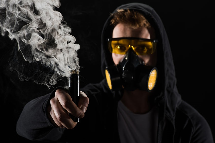 Vaping in a Gas Mask Stock Photo